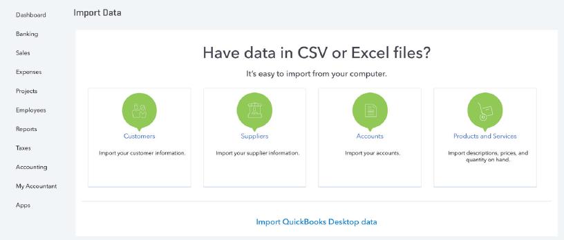 QuickBooks Online data screen