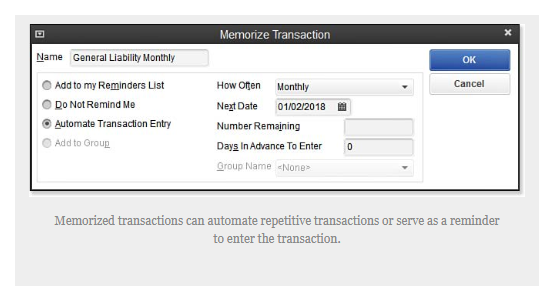 quickbooks transaction memorize